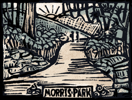 A woodblock print of two friends on a trail in Morris Park.